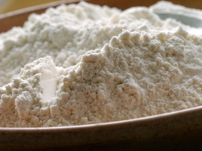 Bread flour in a bowl.