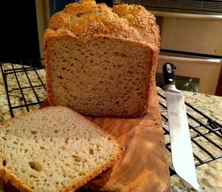 Gluten-free bread made in bread maker.